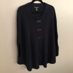 Navy Blue Poncho Sweater